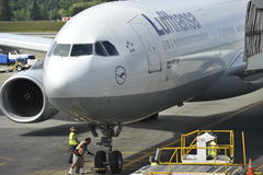 Lufthansa Airbus A330-300 Parking at Gate Royalty Free Stock Images