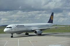 Lufthansa Airbus Rolling to the Runway Royalty Free Stock Images