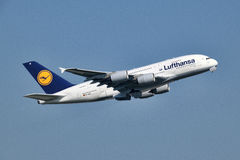 Lufthansa Airbus A380-841 take off at Frankfurt Airport. Royalty Free Stock Photography