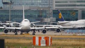 Lufthansa Airbus 340 take-off stock video footage