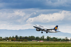 Lufthansa Airbus taking off from Zagreb Airport Royalty Free Stock Photos