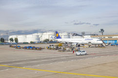 Lufthansa aircraft parking at the apron Royalty Free Stock Photography