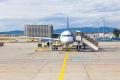 Lufthansa aircraft parking at the apron Royalty Free Stock Photo