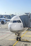 Lufthansa aircraft at position at the airport Stock Images