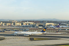 Lufthansa Aircraft ready for boarding at Terminal 1 Royalty Free Stock Images