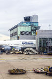 Lufthansa Aircraft is ready for leaving the airport Stock Photos