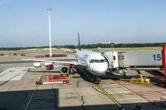 Lufthansa Aircrafts at the gate in Hamburg Stock Photo