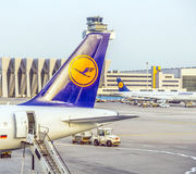 Lufthansa Aircrafts standing at Royalty Free Stock Photo