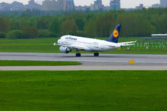 Lufthansa Airlines Airbus A319-114 aircraft in Pulkovo International airport in Saint-Petersburg, Russia Stock Image