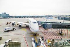 Lufthansa 747 airplane Royalty Free Stock Photo
