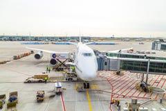 Lufthansa 747 airplane parked on Stock Photo