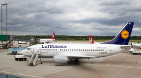 Lufthansa airplane ready for embarkation Stock Image