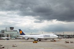 Lufthansa airplane on the runway stock images
