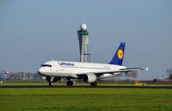 Lufthansa Airplane takes off Royalty Free Stock Image