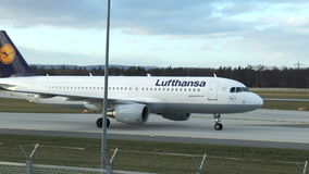 Lufthansa airplane taxiing stock footage