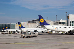 Lufthansa Airplanes at the Frankfurt Airport Royalty Free Stock Photos