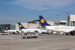 Lufthansa Airplanes at the Frankfurt Airport Royalty Free Stock Photos