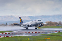 Lufthansa Airways Airbus A320. Taking off from Manchester Airport stock images