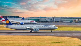 Lufthansa And British Airways At Heathrow Stock Photography