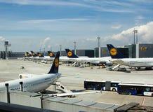 Lufthansa-Anschlüsse im internationalen Flughafen Stockbild