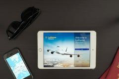 Η Lufthansa App Στοκ φωτογραφίες με δικαίωμα ελεύθερης χρήσης