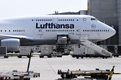 Lufthansa Boeing 747 at Frankfurt am Main airport Royalty Free Stock Images