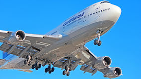 Lufthansa Boeing 747-400. A Lufthansa Boeing 747-400 aircraft on final approach to Toronto Pearson International Airport YYZ Stock Photo