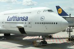 Lufthansa boeing 747 at Frankfurt airport, Germany Royalty Free Stock Images
