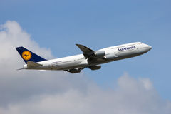 Lufthansa Boeing 747. FRANKFURT, GERMANY - JUL 09, 2013: A Lufthansa Boeing 747-830 taking off from Frankfurt Airport. Lufthansa is founded in 1953 and the Royalty Free Stock Photo