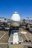Lufthansa Boeing 747 at a Gate at Los Angeles International Airport Royalty Free Stock Image