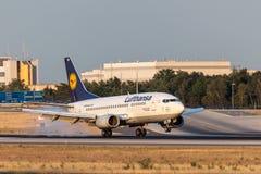 Lufthansa Boeing 737-500 landningsögonblick i den Frankfurt strömförsörjningen Arkivbild