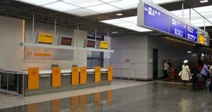 Lufthansa check-in desk stock video