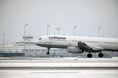 Lufthansa A321-100 D-AIRO took off from Munchen Airport Royalty Free Stock Photo