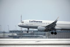Lufthansa A321-100 D-AIRO took off from Munchen Airport Royalty Free Stock Photos