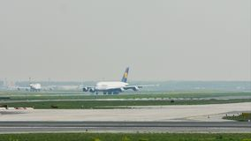 Lufthansa Airbus A380 taxiing in Frankfurt Airport, FRA stock video