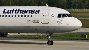 Lufthansa taxiing in Frankfurt Airport, FRA. Lufthansa doing taxi in Frankfurt Airport, FRA, Germany stock footage