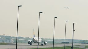 Lufthansa taxiing in Frankfurt Airport, FRA. Lufthansa doing taxi in Frankfurt Airport, FRA, Germany stock video