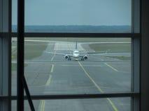 Lufthansa Embraer ERJ-195LR taxiing in Prague royalty free stock photos