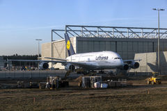Lufthansa A380 en Lufthansa Technik Imagen de archivo