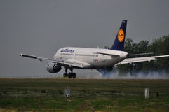 Lufthansa flight. View of Lufthansa plane Airbus A319 flight from Frankfurt, Germany to Lublin, Poland. July 6, 2014. Lublin Airport in Swidnik, Poland Stock Photo