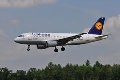 Lufthansa flight. View of Lufthansa plane Airbus A319 flight from Frankfurt, Germany to Lublin, Poland. July 6, 2014. Lublin Airport in Swidnik, Poland Stock Images