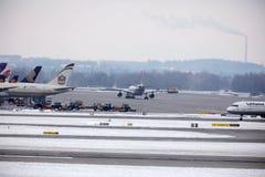 Lufthansa flygbuss A321-200 D-AIDE i den Munchen flygplatsen Royaltyfri Fotografi