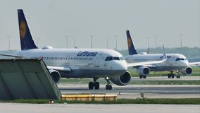 Lufthansa planes taxiing in Frankfurt Airport, FRA. Lufthansa jets doing taxi in Frankfurt Airport, FRA Germany stock video footage
