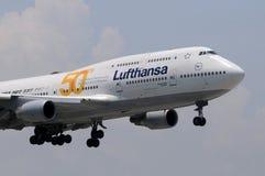 Lufthansa jumbo jet landing Stock Image