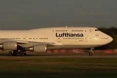 Lufthansa Jumbo panning. One of the biggest airlines in the world, Lufthansa main base is the Frankfurt airport. Main member of Star Alliance, can serve over 180 Stock Photo
