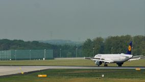 Lufthansa landing in Frankfurt Airport, FRA. Touching down. Lufthansa lands in Frankfurt Airport, FRA, Germany. Touching down stock video