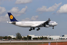 Lufthansa long haul flight Stock Photo