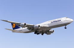Lufthansa 747-8. Los Angeles, USA - June 6, 2014: An airplane of Lufthansa (Boeing 747-8) landing at Los Angeles International Airport Stock Photo