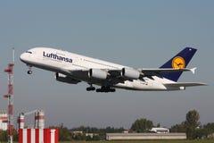 Lufthansa-Luchtbus A380 Stock Afbeeldingen