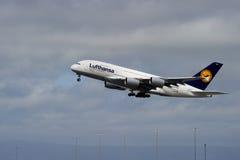 Lufthansa Luchtbus A380 Stock Afbeeldingen